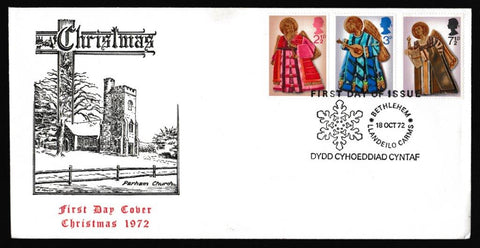 Great Britain First Day Cover, 'Christmas 1972 - Parham Church', Official, Bethlehem, Llandeilo, 18-Oct-1972