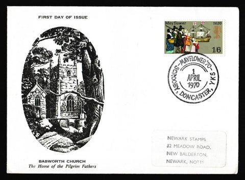 Great Britain First Day Cover, 'General Annivesaries - Mayflower Scrooby Babworth Church', Official, Scrooby, Doncaster, Yorks, 01-Apr-1970
