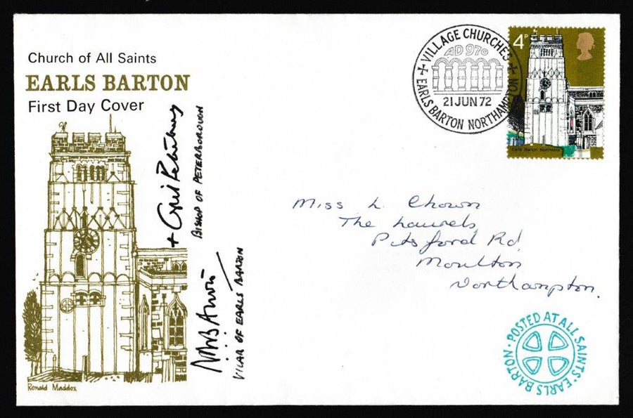 Great Britain First Day Cover, 'Village Churches - Earls Barton', Official, Earls Barton, Nortmpton, 21-Jun-1972