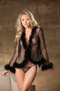 ROBE DOT NET & FEATHERS ROBE & G-STRING