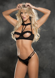 Venice and Mesh  Open Cup Bra and Thong