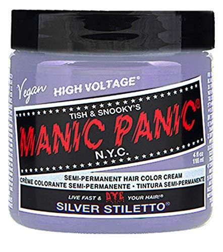 Manic Panic Silver Stiletto Gray Hair Dye - Classic High Voltage - Semi Permanent Hair Color - Icy Silver Shade with Lavender Tint - Vegan,