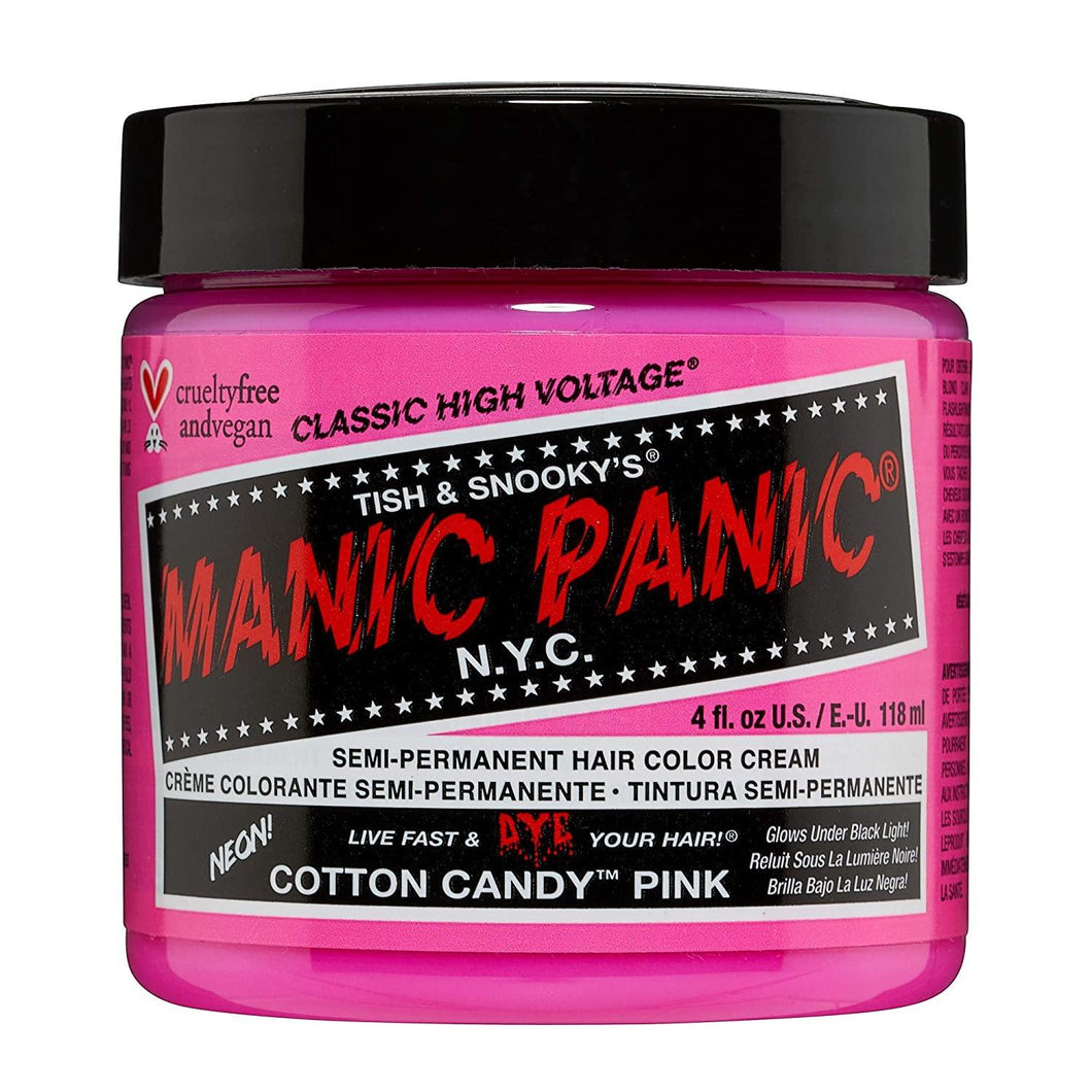 Manic Panic Cotton Candy Pink Hair Dye - Classic High Voltage - Semi Permanent Hair Color - Glows in Blacklight