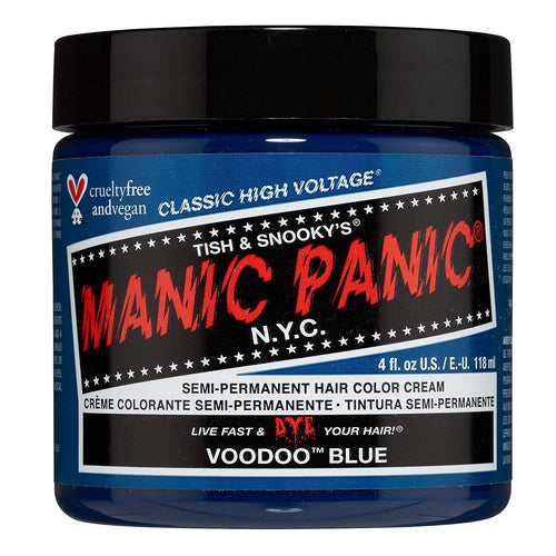 Manic Panic Voodoo Blue Hair Dye – Classic High Voltage - Semi Permanent Hair Color - Dark Cyan Shade With Green Undertones - For Dark & Light Hair - Vegan