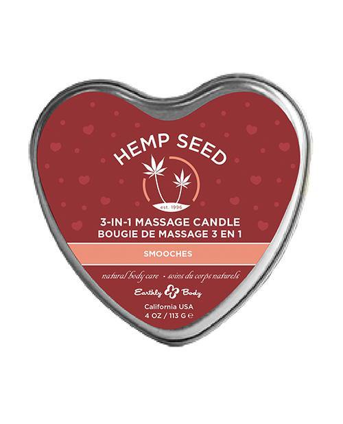 Earthly Body Valentines 2021 3 in 1 Massage Heart Candle - 4 oz -Smooches - Pink Cactus Trading Company