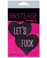 "Load image into Gallery viewer, Pastease ""Let's F**k"" Hearts Pasties - Black O/S"