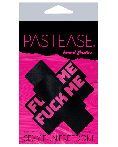 Pastease Fu** Me Plus Pasties - Black/Pink O/S