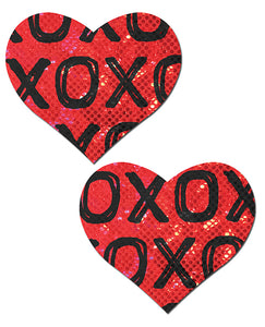 Pastease Glitter XOXO Heart Pasties - Red/Black O/S
