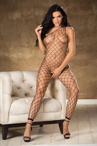 Sparkly  Fishnet One Shoulder Bodystocking - Pink Cactus Trading Company