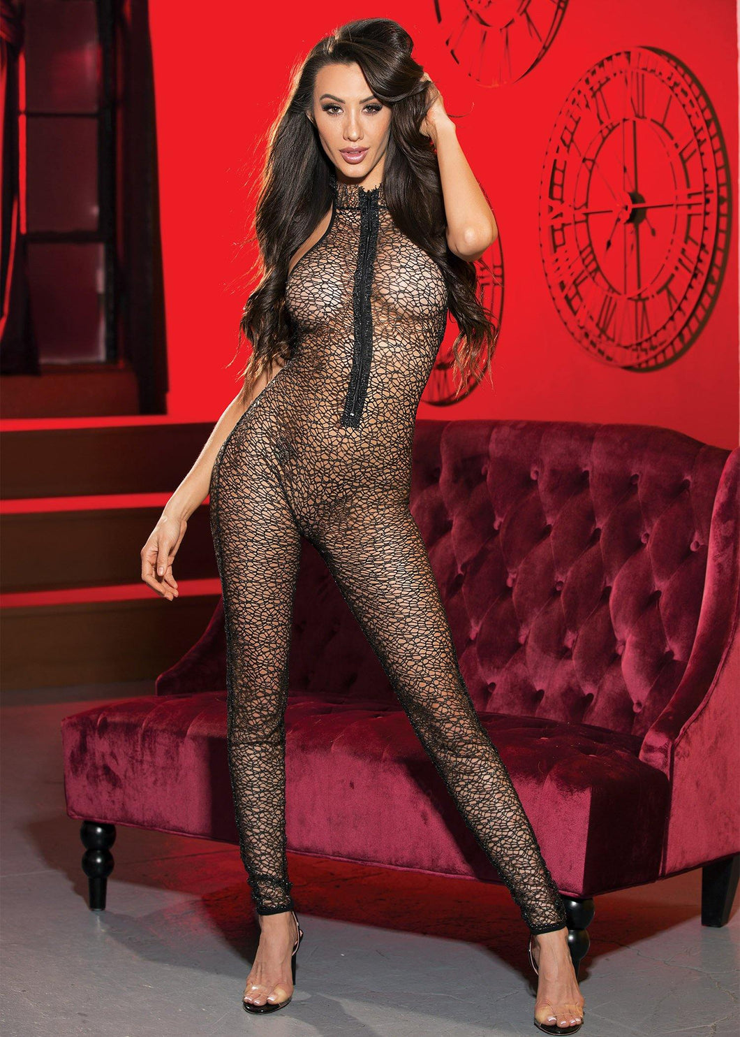 Metallic Abstract Stretch Fishnet BODY STOCKING