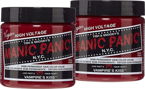 Manic Panic Vampire Red Hair Dye - Classic High Voltage - Semi Permanent Hair Color - Deep Blood Red Shade With Burgundy Tones