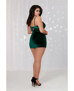 Holiday Stretch Velvet Chemise w/Shirring Detail Evergreen/Black ..Plus Size - Pink Cactus Trading Company