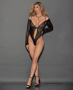 Euphoria Long Sleeve Strappy Back Open Crotch Thong Teddy Black O/S - Pink Cactus Trading Company