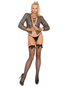 Fishnet Thigh High w/Satin Bow - Pink Cactus Trading Company