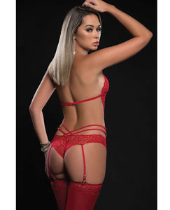 Lace Teddy w/Garter & Stockings Candy Red
