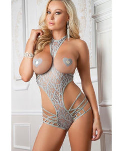 Cutout Boyshort Halter Teddy Smoke