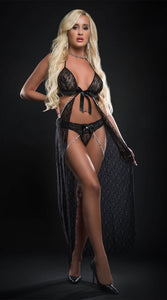 Cut Out Open Front Flyaway Night Gown w/Pearl Chains & Panty