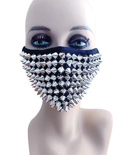 Neva Nude Stud Mask w/Inner 100% Cotton Filter Pocket & Wire Bridge - Silver - Pink Cactus Trading Company