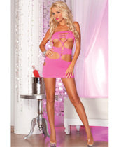 Pink Lipstick Nocturnal Seamless Mini Dress Red O/S