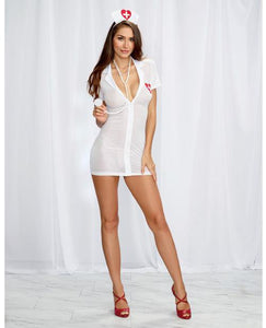 3 pc Bedroom Costume Stretch Mesh Chemise w/Front Zipper, Hat, & Stethoscope White/Red O/S