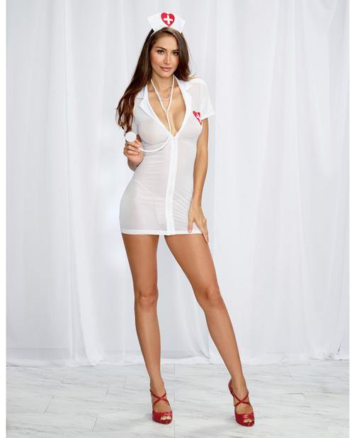 3 pc Bedroom Costume Stretch Mesh Chemise w/Front Zipper, Hat, & Stethoscope White/Red O/S - Pink Cactus Trading Company