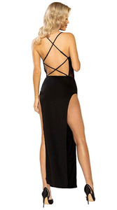 SHEER MESH CORSET LOOK MAXI LENGTH DRESS WITH CRISS-CROSS BACK DETAIL - Pink Cactus Trading Company