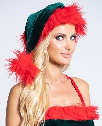 GREEN AND RED FUR TRIMMED CHRISTMAS ELF HAT