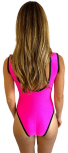 Neon Pink Blacklight Peepers Bodysuit One Piece