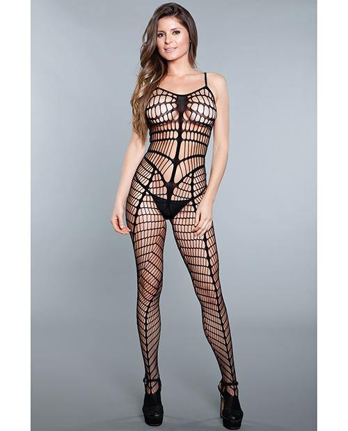 Vertical Stripe Crotchless Bodystocking