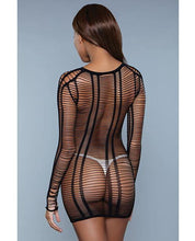 Load image into Gallery viewer, Mid Thigh Length Bodystocking, Long Sleeve w/Multiple Cutout Detail Black O/S