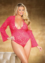 Load image into Gallery viewer, Stretch Lace BODYSUIT TEDDY - Pink Cactus Trading Company