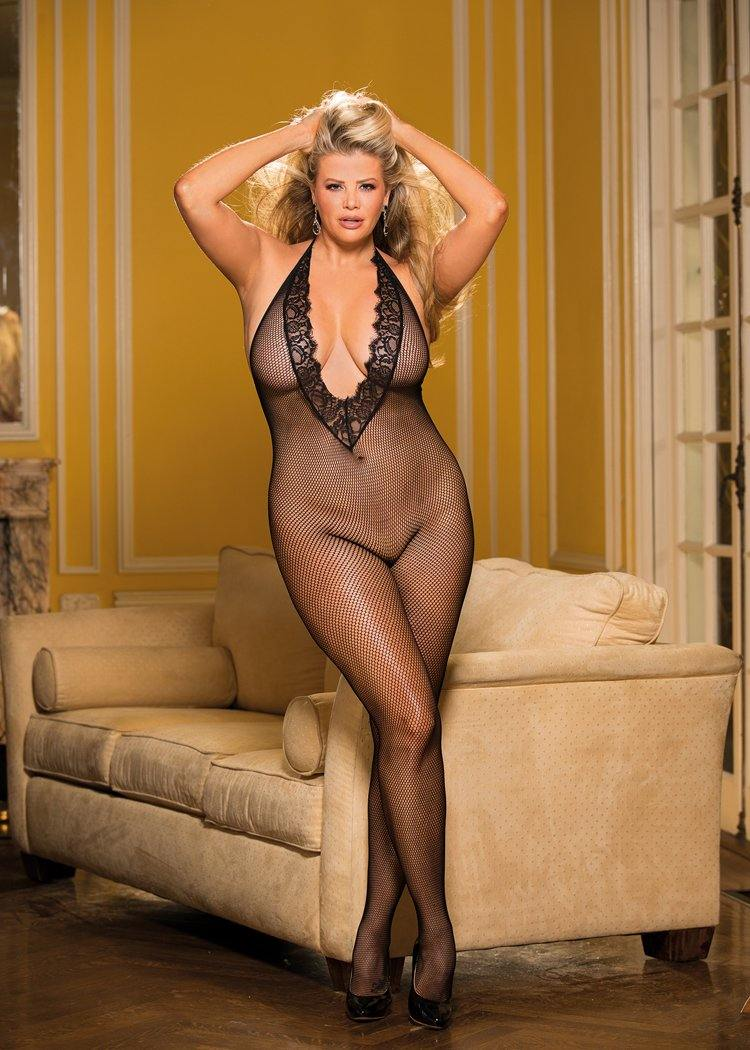 PLUS SIZE DEEP PLUNGE CROTCHLESS BODYSTOCKING - Pink Cactus Trading Company