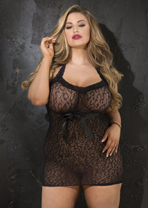 STRETCH LEOPARD PATTERNED STRETCH LACE CHEMISE with ribbon tie front...Missy & Plus Sizes