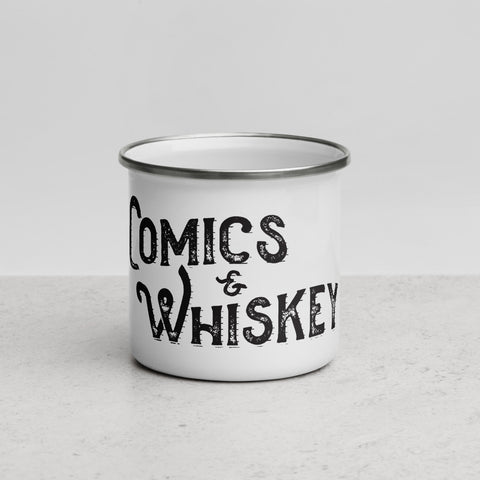 Comics & Whiskey Enamel Mug
