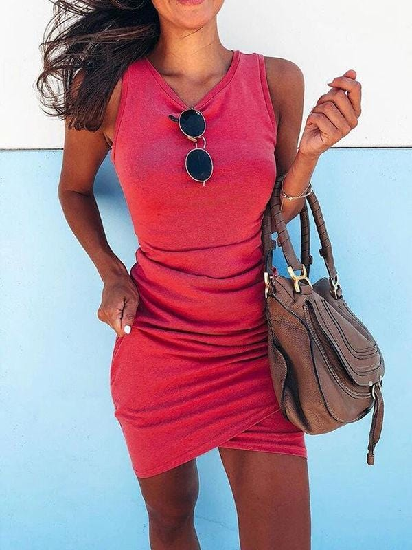 Pleated Irregular Mini Dress