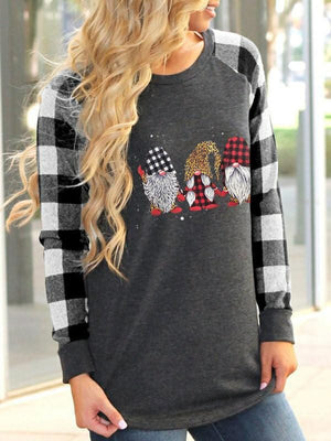 Women's Scandinavian Leopard Print Christmas Gnome Printed Top