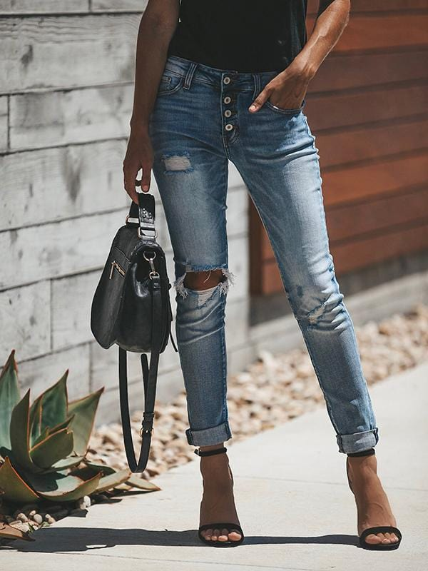High Waisted Hole Button Jeans