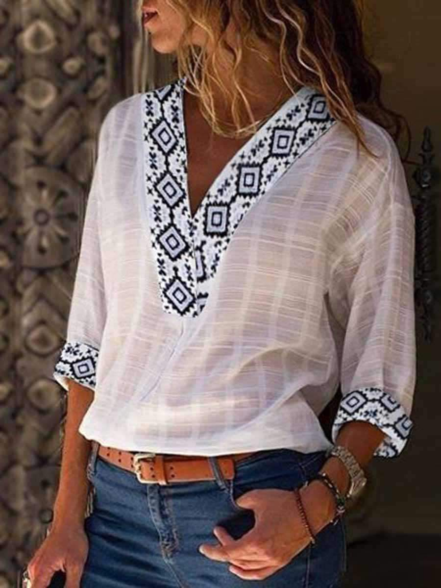 Seven-quarter Sleeve Splice Blouse
