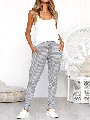 Striped Tie Loose Trousers-Bottoms-needatstyle.com
