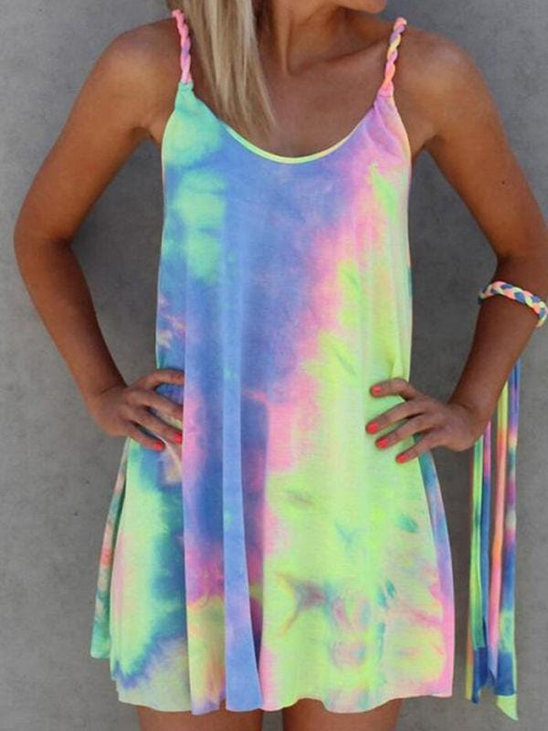Colorful Tie Dye Twist Mini Dress