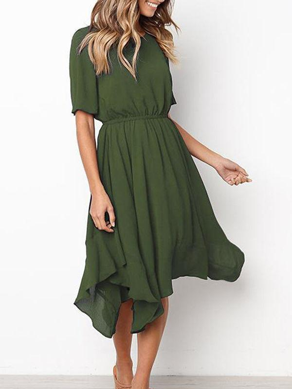 Irregular Cold Shoulder Short Sleeve Dress