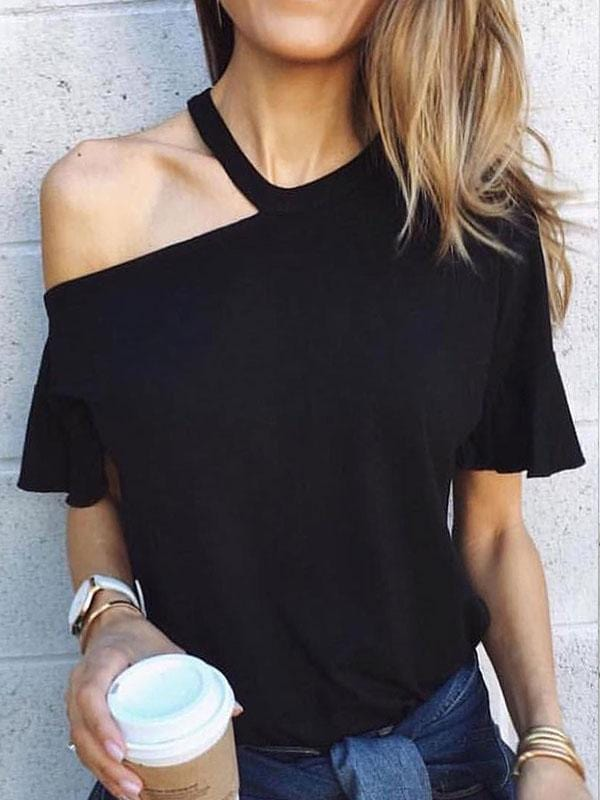 Dew Shoulder Black T-shirt