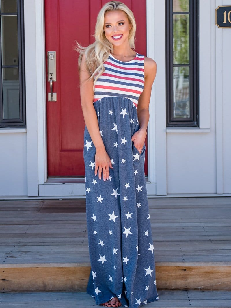 4th Of July Pocketed Dress