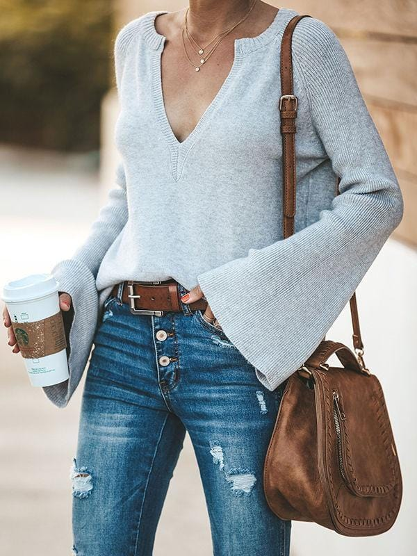 New Design Deep V-neck Sweaters With Bell sleeve