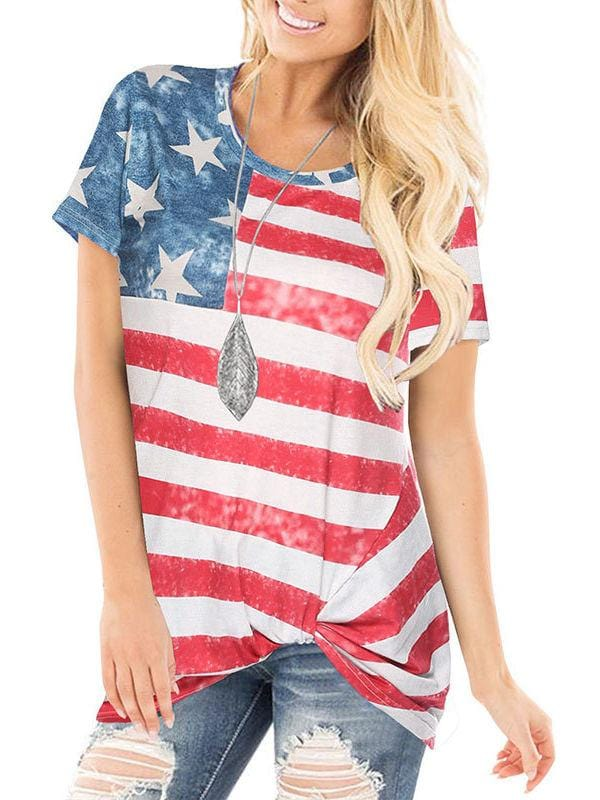 American Flag Knot Top