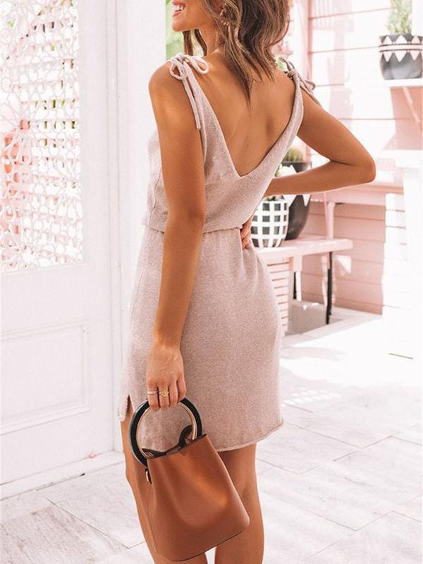 V-Neck Irregular Ties Mini Dress