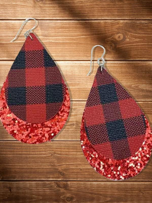 Buffalo Plaid Leather Earings