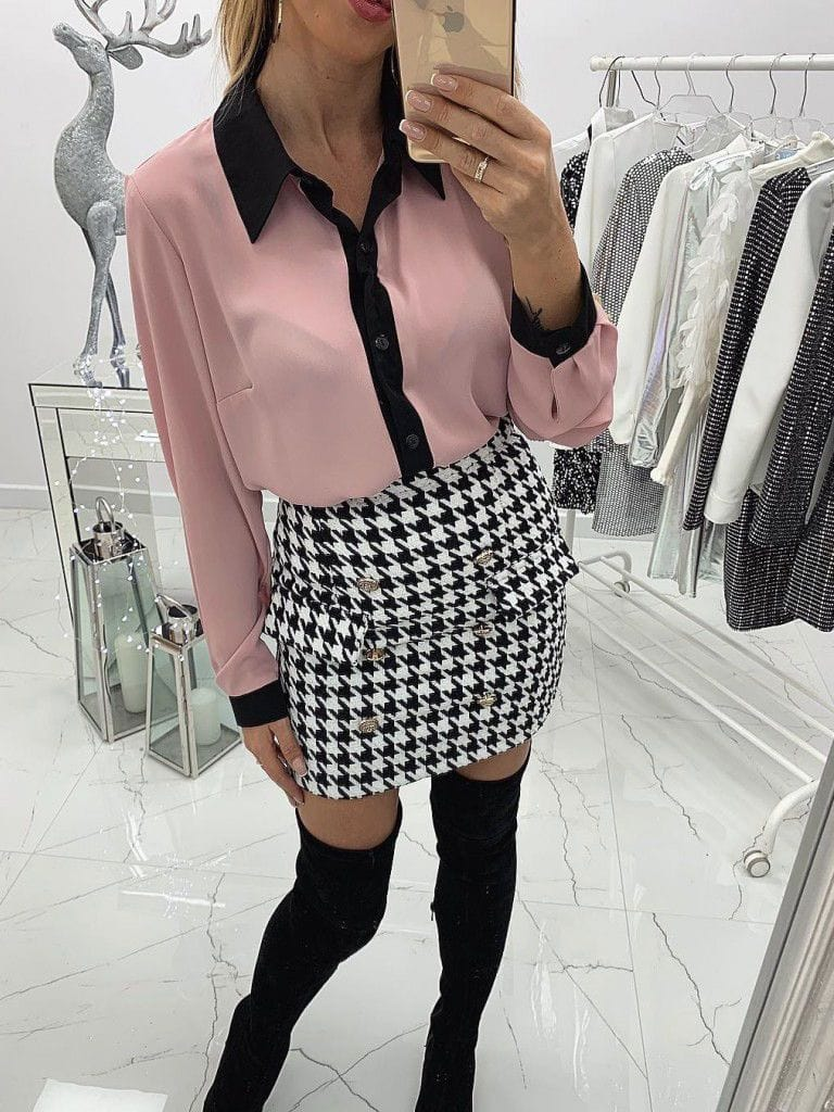 Color block Button Chiffon Blouses
