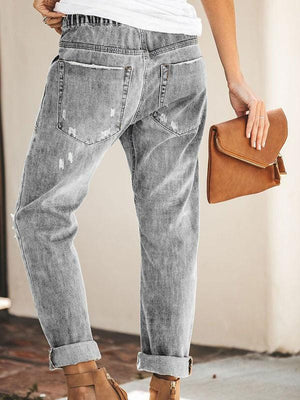 Distressed Shredded Pocket Jeans