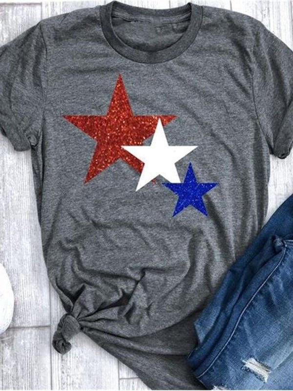 4th of July Star Printed T-shirts
